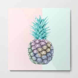 Pineapple with pastel background Metal Print