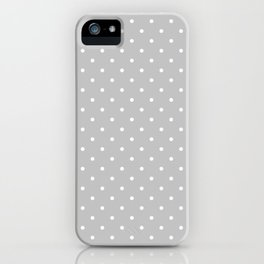 Small White Polka Dots On Light Grey Background iPhone Case