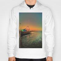 santa monica Hoodies featuring Santa Monica Pier by The Agate Hunter