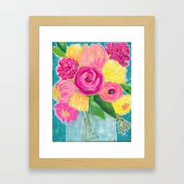 Bouquet of Flowers, Pink and Yellow Flowers, Painting Flowers in Vase Framed Art Print