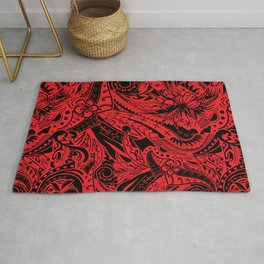 Polynesian Tribal Lava Red Leaf And Floral Rug