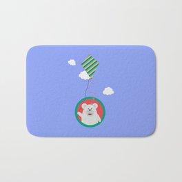 Polar Bear with Kite in cirle Bath Mat