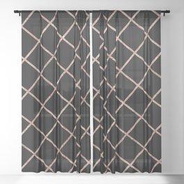 Diagonal Blush Rose Gold Checkered Pattern on Black Sheer Curtain