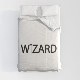 Wizard being a wizard / One word creative typography design Comforters