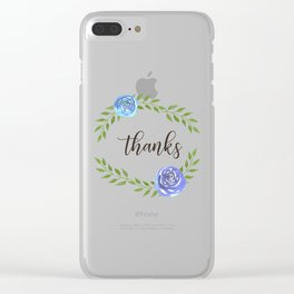 Happy Thanksgiving floral frame Clear iPhone Case