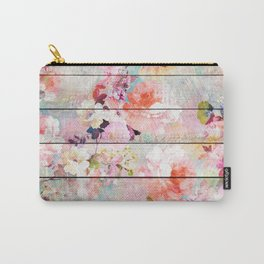 Summer pastel pink purple floral watercolor rustic striped wood pattern Carry-All Pouch