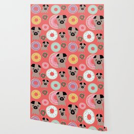 Pug and donuts orange Wallpaper
