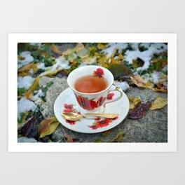Winter Tea Time Art Print