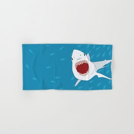 Shark Attack Underwater With Fish Swimming In The Background Hand & Bath Towel