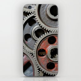 Group of old steel cogwheels iPhone Skin