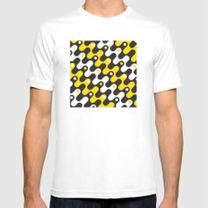Yellow & black waves White Mens Fitted Tee MEDIUM