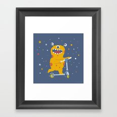 Scooter Monster Framed Art Print