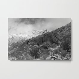 Mountain with Snow and Cloud Metal Print