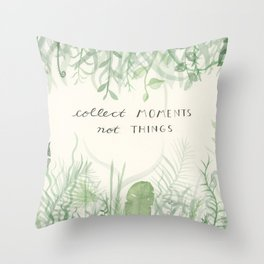 Collect Moments foliage watercolor Throw Pillow
