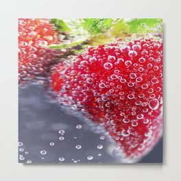 Bubbly Strawberries Metal Print