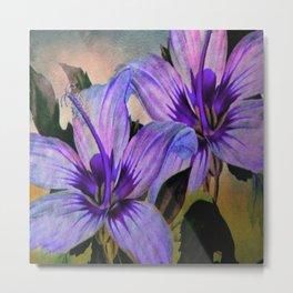 Vintage Painted Lavender Lily Metal Print