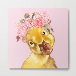 Yellow Duckling with Flowers Crown Metal Print