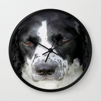 border collie Wall Clocks featuring Border Collie by Doug McRae