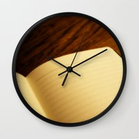 notebook Wall Clocks featuring Blank notebook by Nazar N.