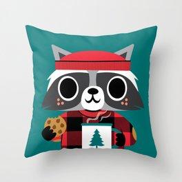 Raccoon in Red Buffalo Plaid Sweater Throw Pillow