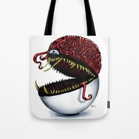 pokeball Tote Bags featuring Evil pokeball  by Capadochio