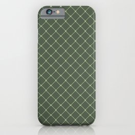 Forest Green Classic Diagonal Grid iPhone Case