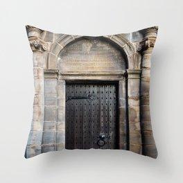 Edinburgh Mercat Cross Door Throw Pillow