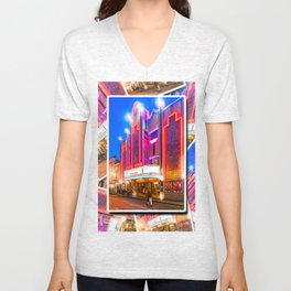 Neon Lights Of An Old Art Deco Theater In Mexico Unisex V-Neck
