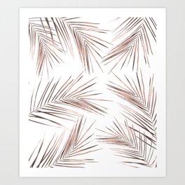 Rose Gold Palm Leaves 1 Art Print