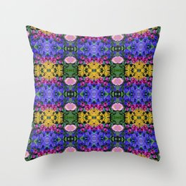 Floral Spectacular: Blue, Plum, Gold - square repeating pattern, Olbrich Botanical Gardens, Madison Throw Pillow