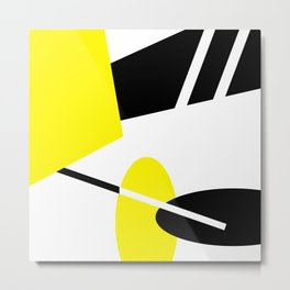 Black White and Yellow, Suits Ties and Shoes Metal Print