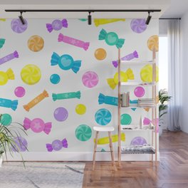 Pastel Rainbow Candy Shop Pattern Wall Mural