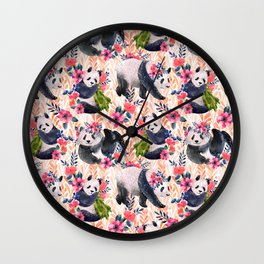 Watercolor pattern with pandas and flowers. Wall Clock