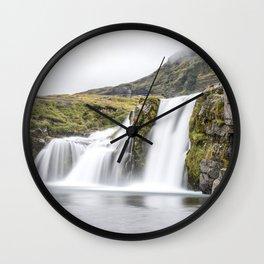 Iceland Waterfall Landscape Water Kirkjufellsfoss Wall Clock