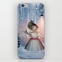 Funny snow women with bird iPhone Skin