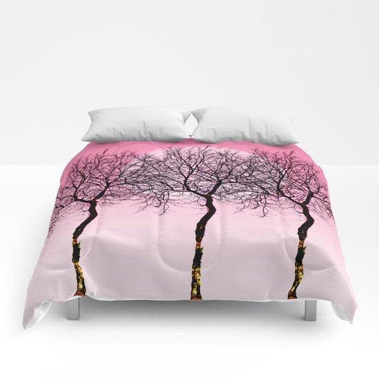 Triplet trees in pink Comforters