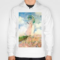 monet Hoodies featuring Claude Monet : Woman With A Parasol by PureVintageLove