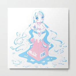 neon milk girl Metal Print