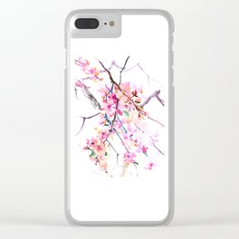 Cherry Blossom pink floral spring design cherry blossom decor Clear iPhone Case