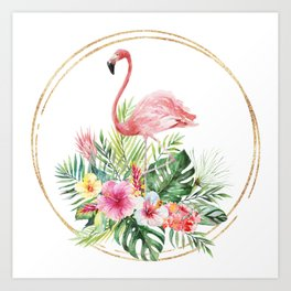 Charming Watercolor Flamingo Tropical Greenery Gold Frame Art Print