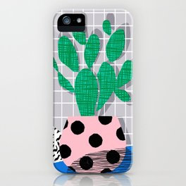 Iffy - cactus desert palm springs socal memphis hipster neon art print abstract grid pattern plant iPhone Case