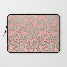 Beautiful Pink Grey and Rose Gold Floral Pattern Laptop Sleeve