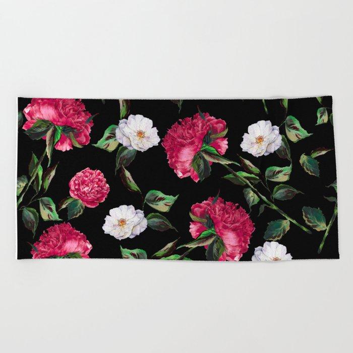 Dark Floral Pattern Beach Towel