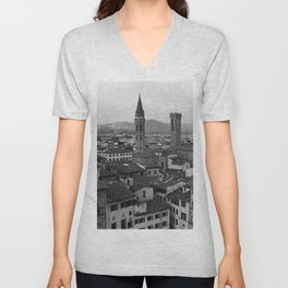 Bologna view point, Italy   Italian streets in Tuscany   Analog photography black and white art print Unisex V-Neck