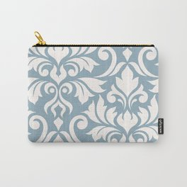 Flourish Damask Art I Cream on Blue Carry-All Pouch