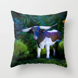 A Steer Cattle Cow at Night Throw Pillow