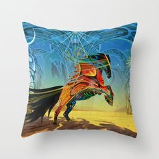 The Wind of Time (Red Horse) Throw Pillow