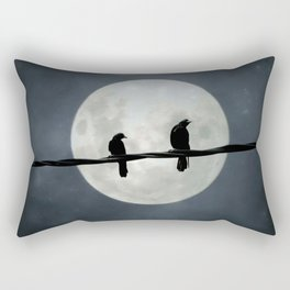 Two Crows In The Light Of A Silvery Moon Rectangular Pillow