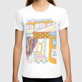 The Terrace And Place Of Olé - Colorful Drawing T-shirt