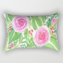 Spring Floral Pink Roses Green Leaves Watercolor Rectangular Pillow
